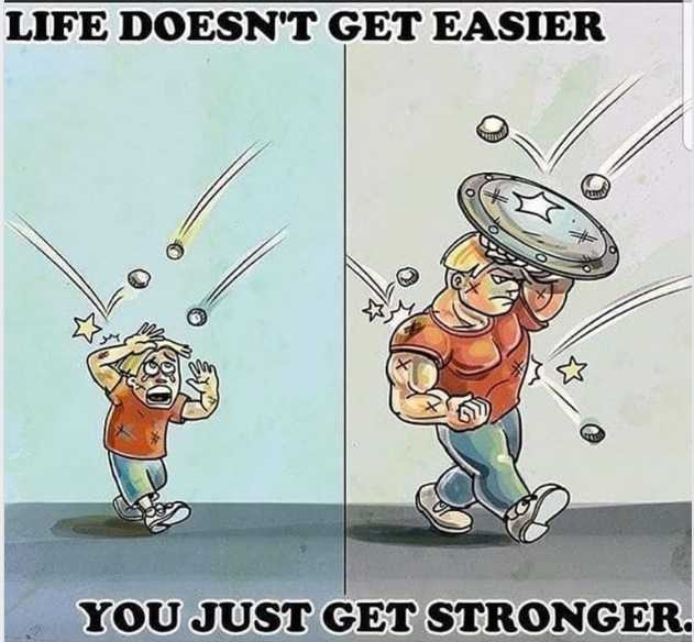 Life doesn't get easier. You Just get stronger.