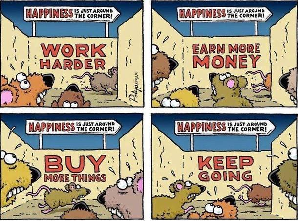 Corrida dos ratos: compre coisas que você não precisa para trabalhar mais depois para pagá-las. Repita até morrer.